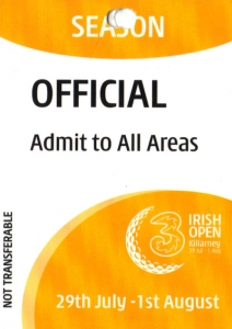 Irish Open Offical Access Card
